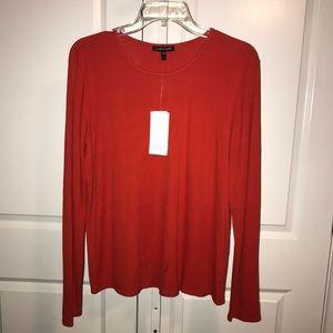 Eileen Fisher Silk Jersey Orange Red Top Shirt L